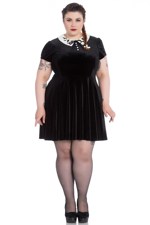 Hell Bunny Plus Size Gothic Wednesday Addams Bat Full Moon Mini