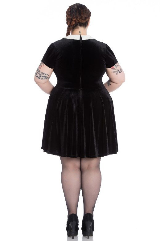 91f4b49e9cc Hell Bunny Plus Size Gothic Wednesday Addams Bat Full Moon Mini Dress
