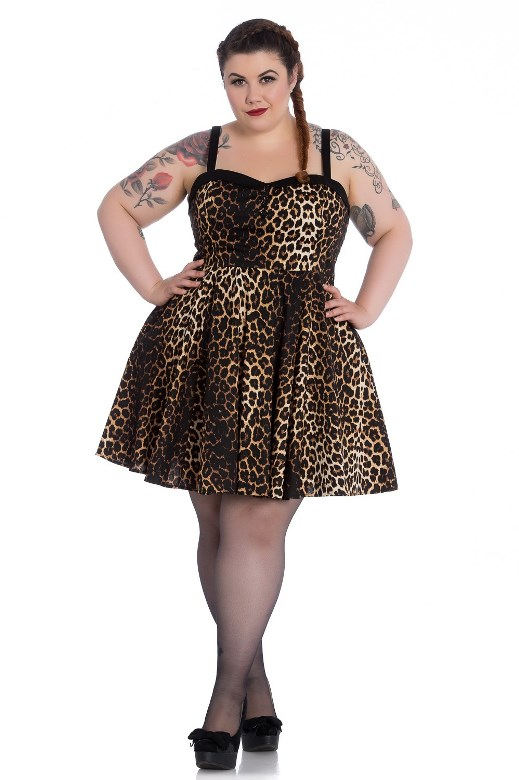 Hell Bunny Plus Size Punk Leopard Panthera Mini Dress Hb4771