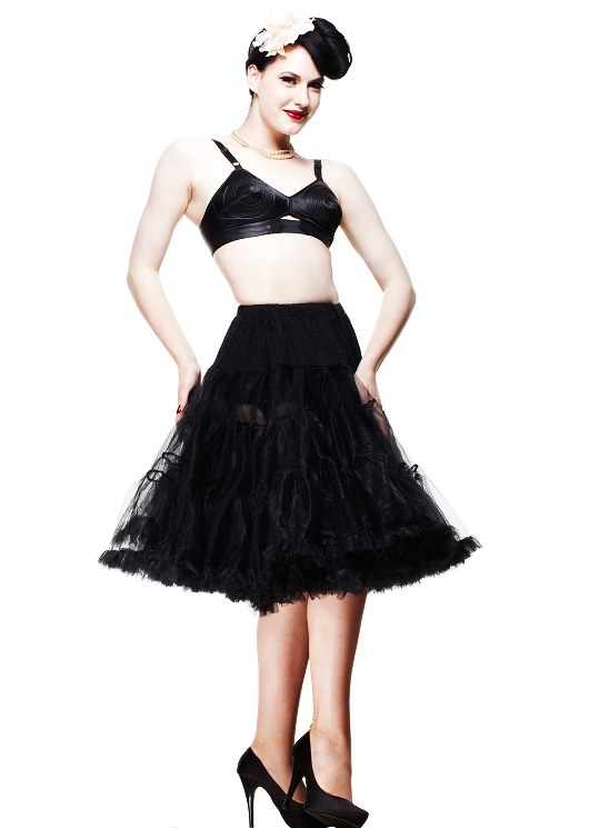 Hell Bunny Plus Size Gothic Black Long Voluminous Petticoat