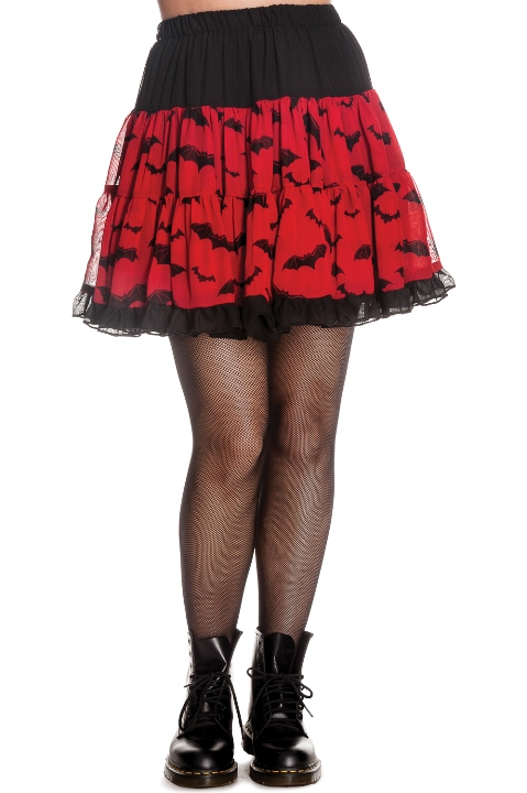 Hell Bunny Black and Red Lace Gothic Bat Skirt