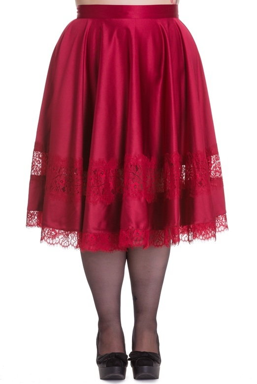 Hell Bunny Plus Size Gothic Burgundy Red Lace Diana Skirt