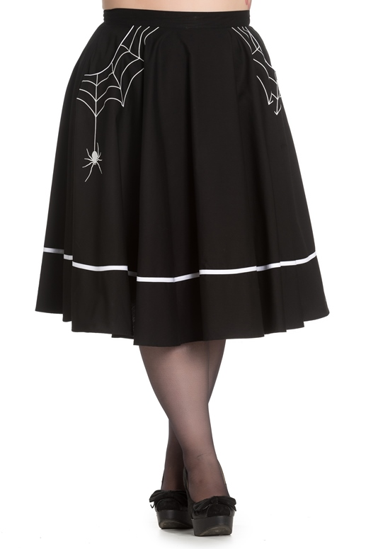 Hell Bunny Plus Size Black Little Miss Muffet Spider Web Rockabilly Halloween Gothic Swing Skirt