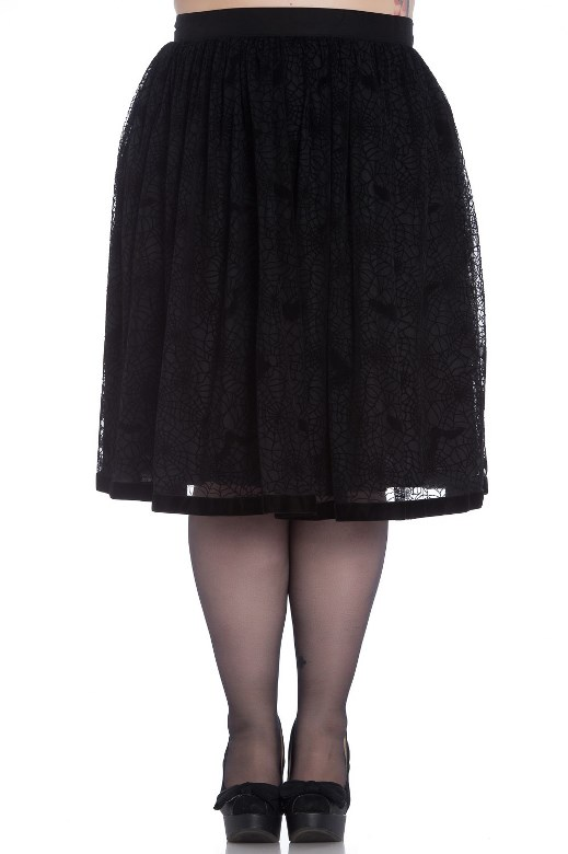 Hell Bunny Plus Size Gothic Black Spiderweb Bats Tulle Skirt
