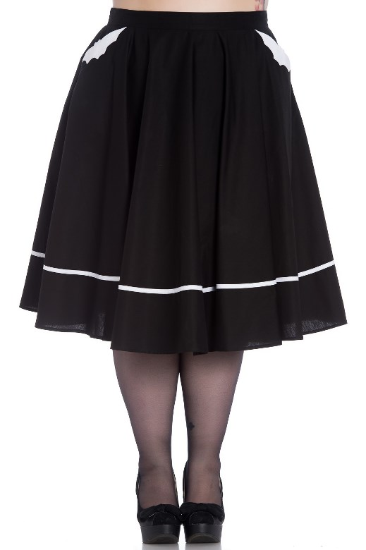 Hell Bunny Plus Size Black & White Halloween Gothic Bat Skirt
