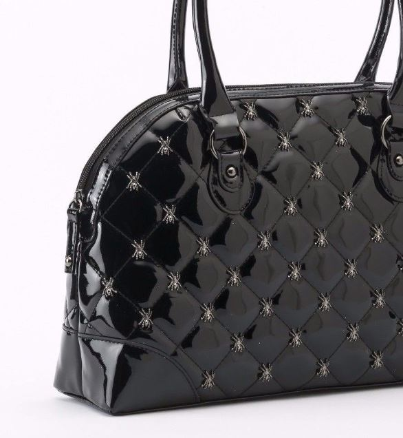 GG Rose by Rock Rebel Shiny Black Lucy Quilted Handbag Metal Spider Hardware