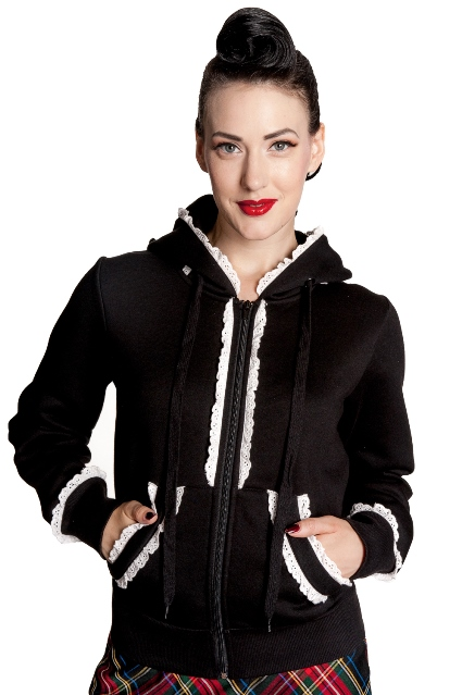 Hell Bunny Black and White Gothic Bunny Hoodie