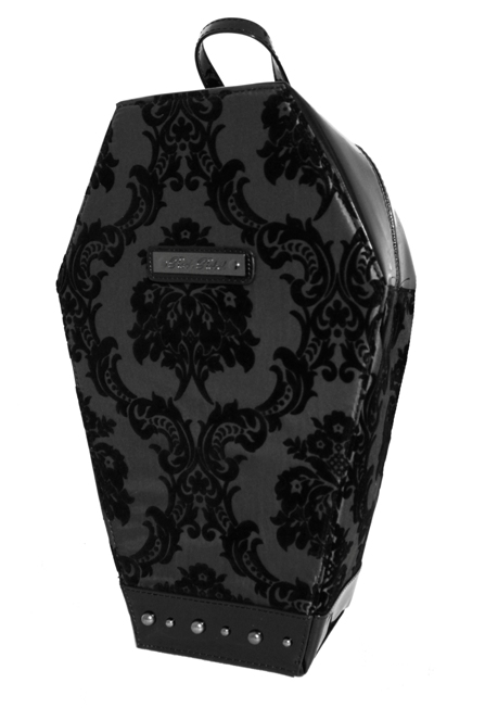 Madame Mistress Damask Black PVC Coffin Backpack by Rock Rebel