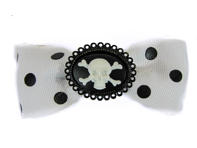 Hairy Scary White & Black Polkadot Bow w Skull & Crossbones Cameo Jezebow Hair Clip