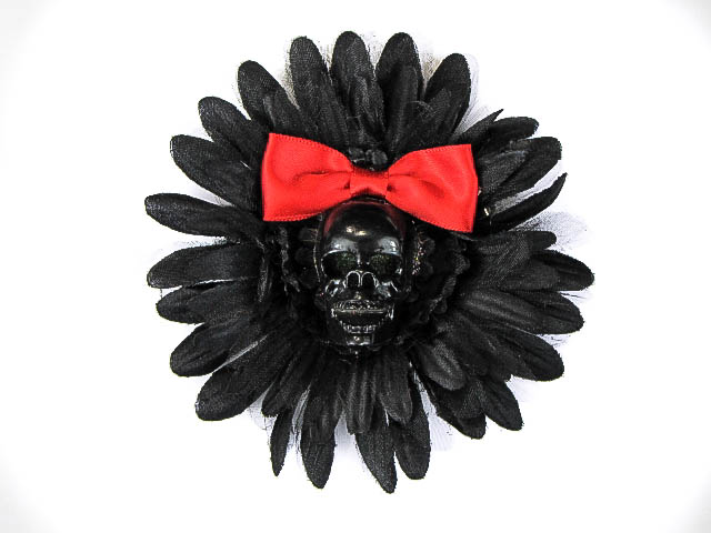 Hairy Scary Black & Black Skull & Red Bow Hairlot Skull Hair Clip - Click Image to Close