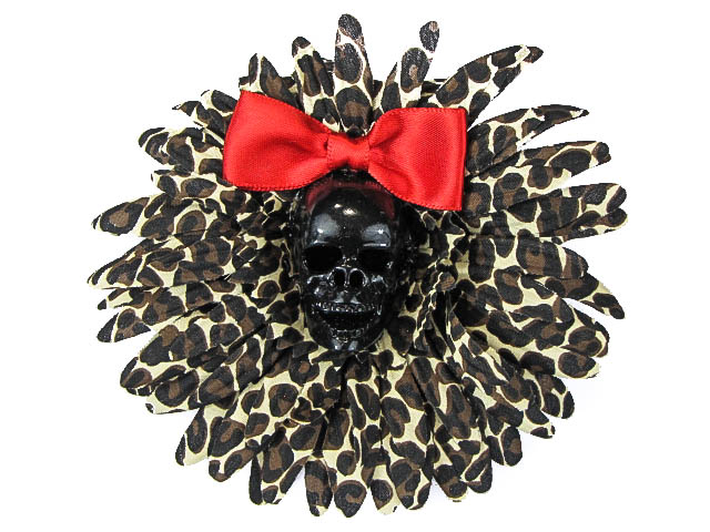 Hairy Scary Leopard & Black Skull & Red Bow Hairlot Skull Hair Clip - Click Image to Close
