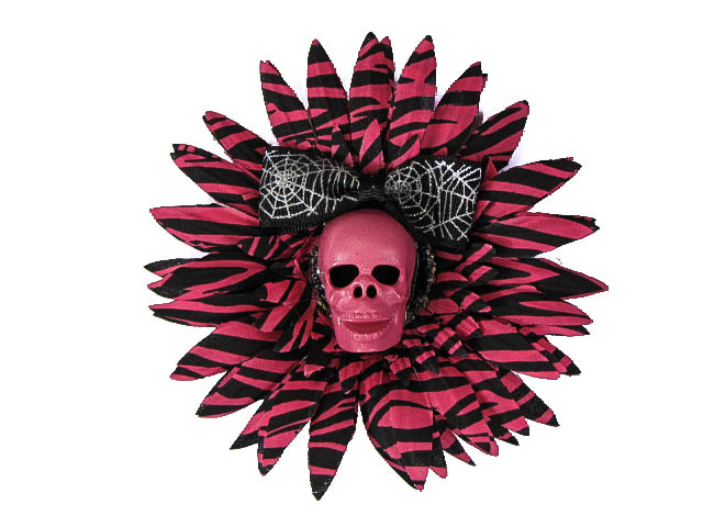 Hairy Scary Pink Zebra & Pink Skull & Spiderweb Bow Hairlot Skull Hair Clip