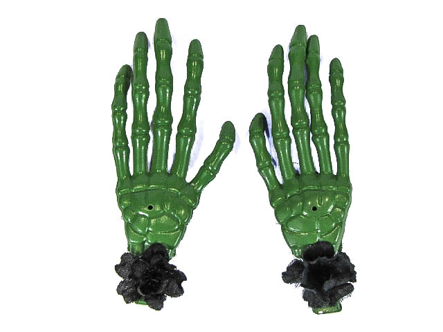 Hairy Scary Green Skeleton Halloween Hades Hands w Black Hair Clip Set