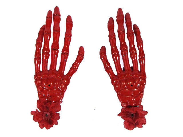 Hairy Scary Red Skeleton Halloween Hades Hands w Red Hair Clip Set