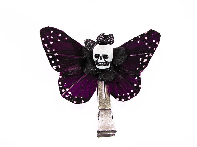 Hairy Scary Magenta Purple Mini Kahlovera Skull Butterfly Feather Hair Clip