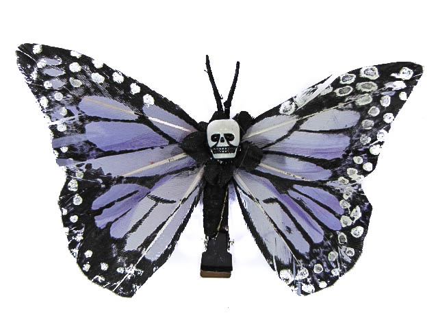Hairy Scary Lavendar Medium Kahlovera Skull Butterfly Feather Hair Clip