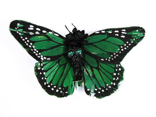 Hairy Scary Green & Black w Green Eyes Large Kahlovera Skull Butterfly Feather Hair Clip