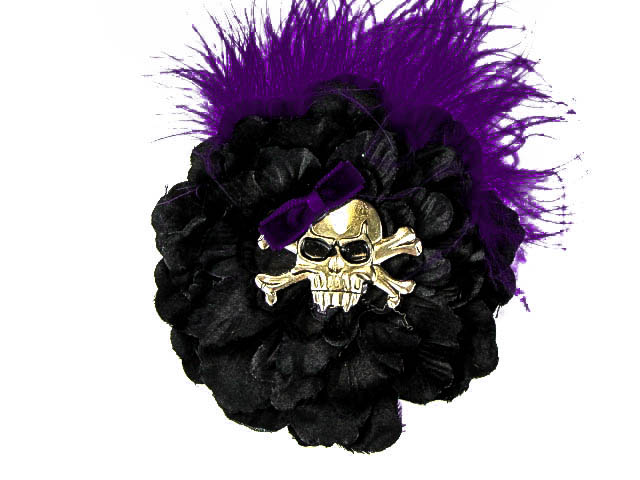 Hairy Scary Black w Royal Purple Feather & Purple Bow Heavy Metal Skull Crossbones Hair Clip