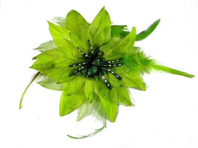 Hairy Scary Neon Green Feather & Spider Tara Tarantula Hair Clip