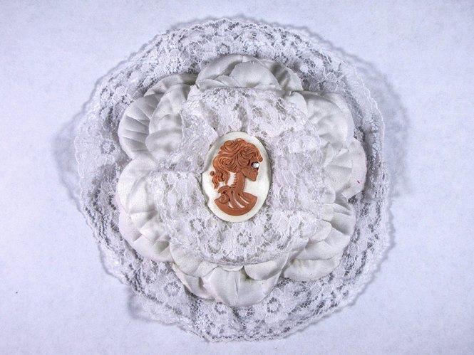 Hairy Scary All White w Peach Victorian Cameo Emily Dickens Hair Clip