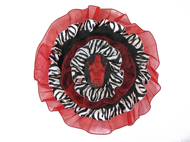 Hairy Scary Red & Zebra w Red Skeleton Cameo Emily Dickens Hair Clip Pin - Click Image to Close
