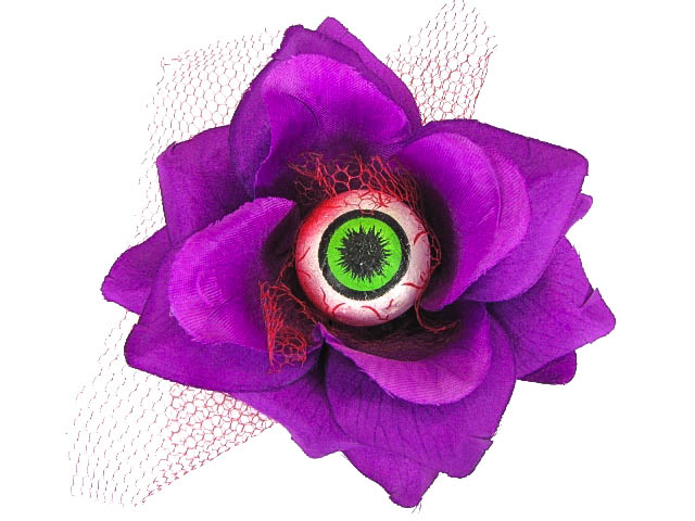Hairy Scary Purple 3D Green Eyeball w Red Netting Eyeleen Hair Clip