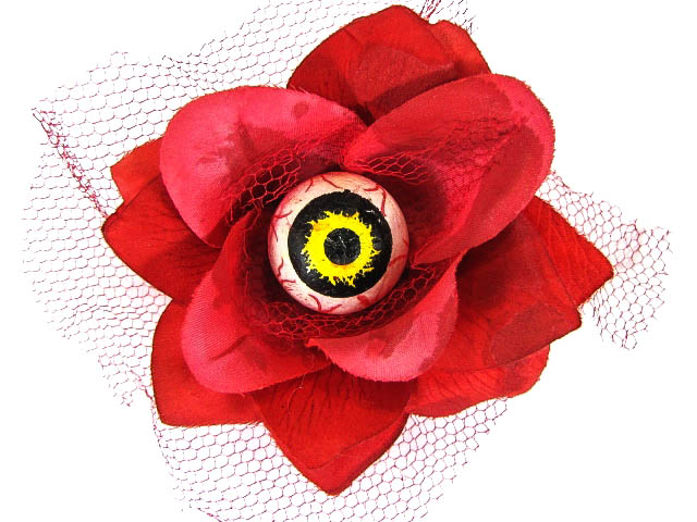Hairy Scary Red 3D Yellow Eyeball w Red Netting Eyeleen Hair Clip
