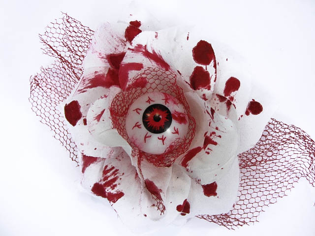 Hairy Scary White and Red Bloody 3D Red Eyeball w Red Netting Eyeleen Hair Clip