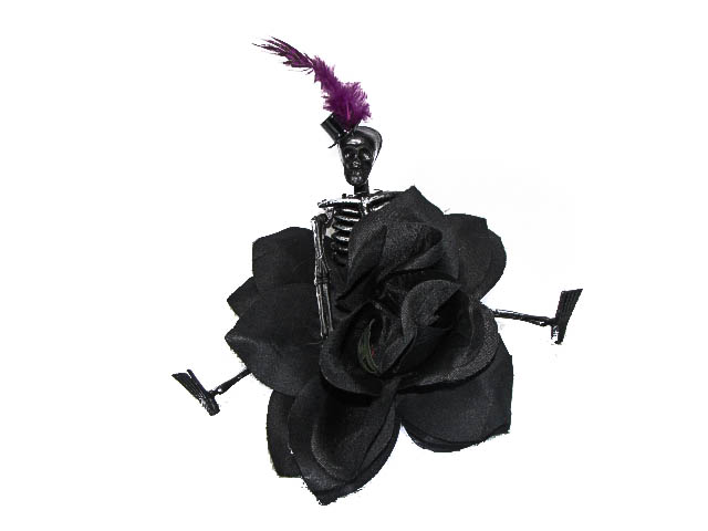 Hairy Scary Black Rose w Black Skeleton Purple Feather Vaude Villian Hair Clip Pin