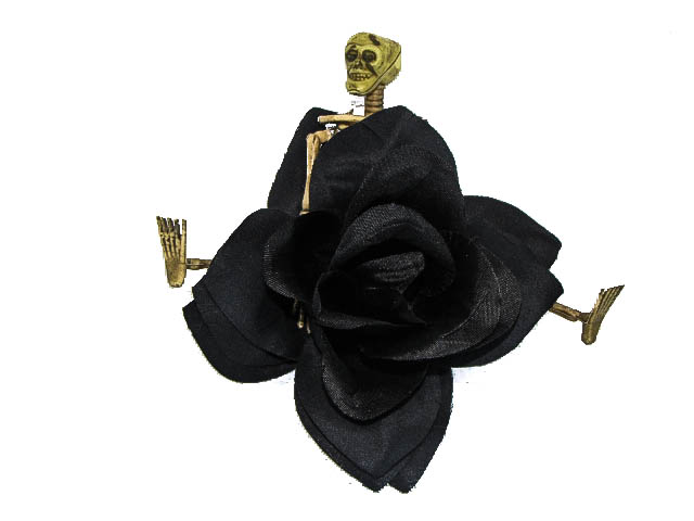 Hairy Scary Black Rose w Bone Skeleton Vaude Villian Hair Clip Pin