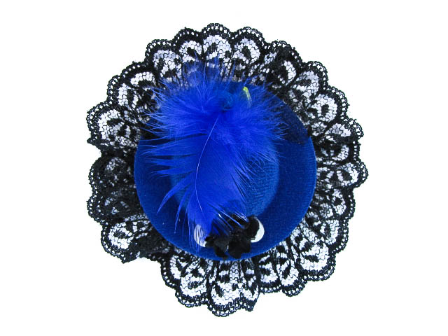 Hairy Scary Small Blue & Black Itsy Bitsy Hat Skull Hair Clip - Click Image to Close