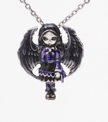 Purple Paper Hearts Fairy Necklace by Jasmine Becket Griffith