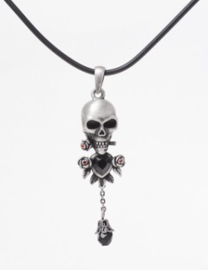 Skull Necklace with Black Jewel and Roses