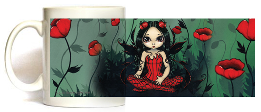 Poppy Garden Fairy Mug by Jasmine Becket Griffith