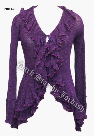 Dark Star Gothic Purple Long Knit Shrug Cardigan