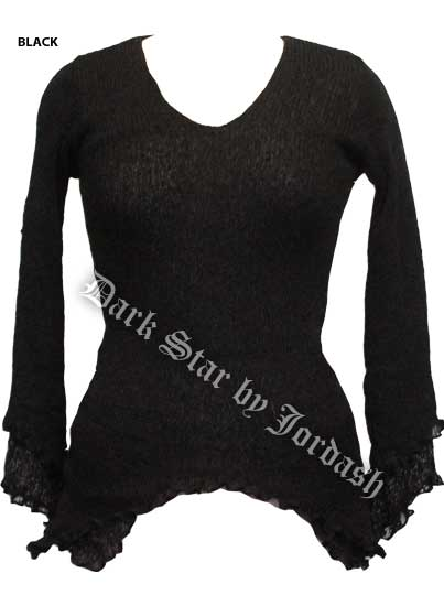 Dark Star Black Long Sleeve Rayon Knit Gothic Top
