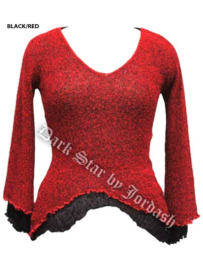 Dark Star Black and Red Long Sleeve Rayon Knit Gothic Top
