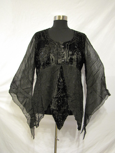 Dark Star Black Gothic Velvet Georgette Mesh Renaissance Blouse [JD/BL/6080V] - $34.99 : Mystic Crypt, the most unique, hard to find items at ghoulishly great prices!