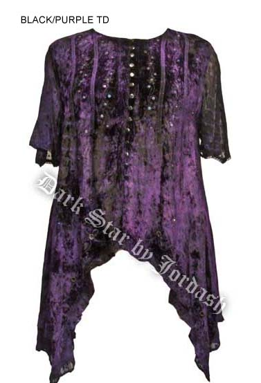 Dark Star Black Purple Velvet Irregular Hem Shirt