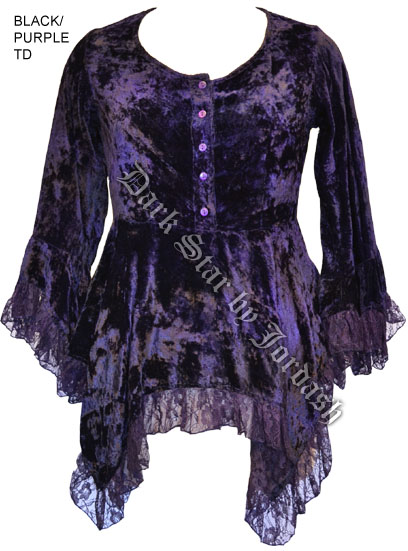 Dark Star Purple Gothic Velvet Lace Renaissance Bell Sleeve Top