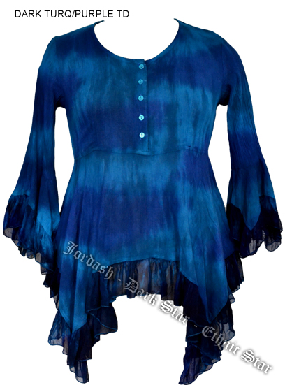 Dark Star Turquoise Dark Purple Gothic Georgette Renaissance Bell Sleeve Top
