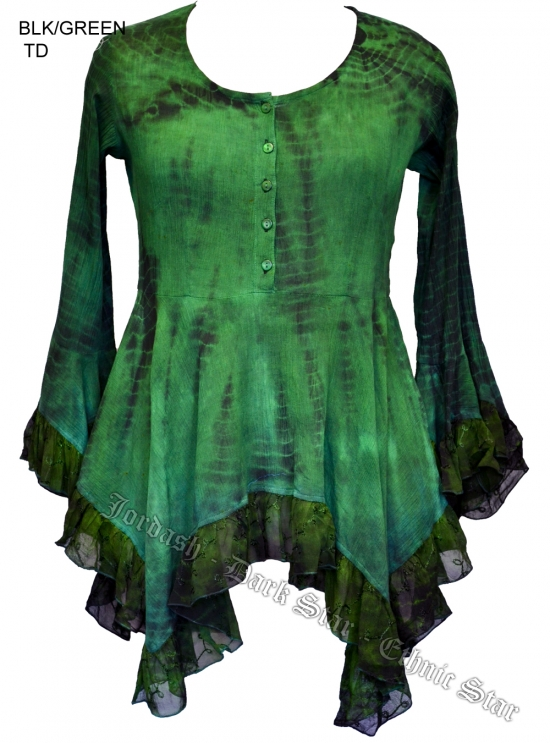 Dark Star Green and Black Gothic Georgette Renaissance Bell Sleeve Top