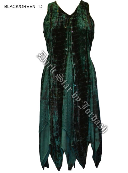 Dark Star Green and Black Renaissance Dress