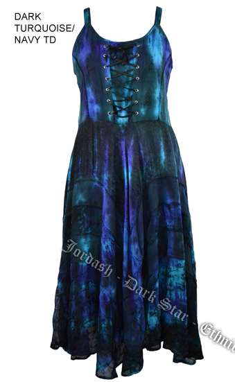 Dark Star Plus Size Dark Turquoise and Navy Gothic Corset Long Gown