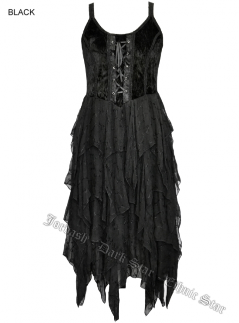 Dark Star Black Corset Witchy Hem Dress