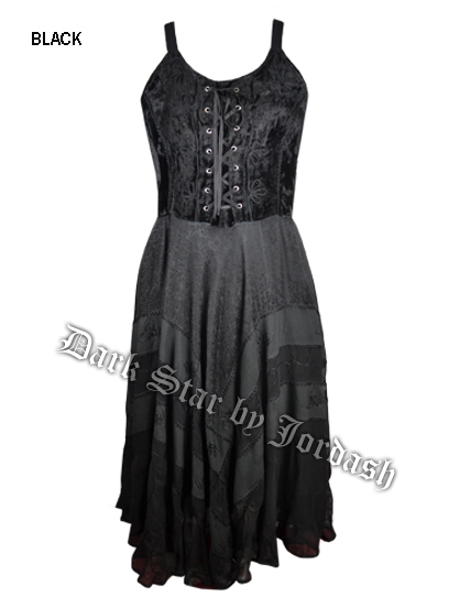 Dark Star Black Velvet Gothic Corset Long Gown