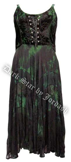 Dark Star Black and Green Velvet Gothic Corset Long Gown