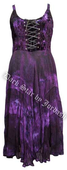 Dark Star Black and Purple Velvet Gothic Corset Long Gown
