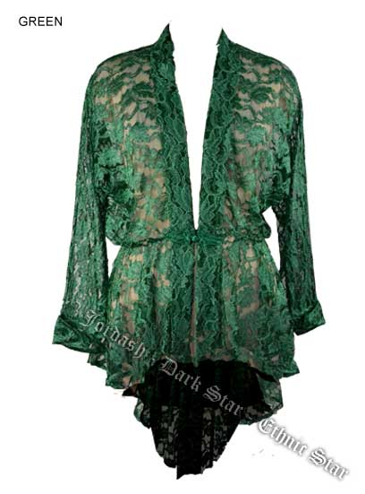 Dark Star Green Lace Gothic Duster Jacket w Frog Fastening
