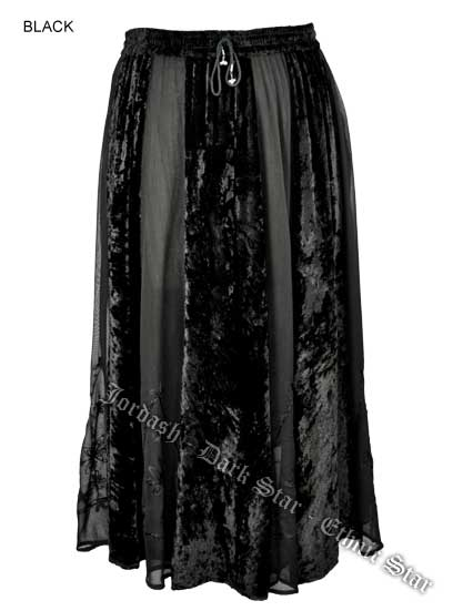 Dark Star Plus Size Long Black Velvet Georgette  Skirt